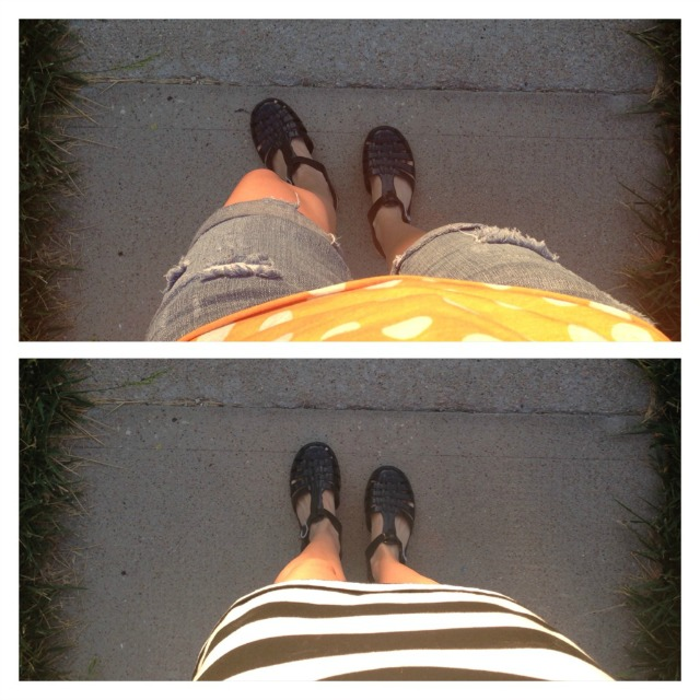 Jelly bean shoes worn outside
