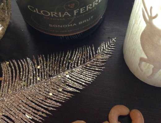 glitter gold feather cashews wine basket candle