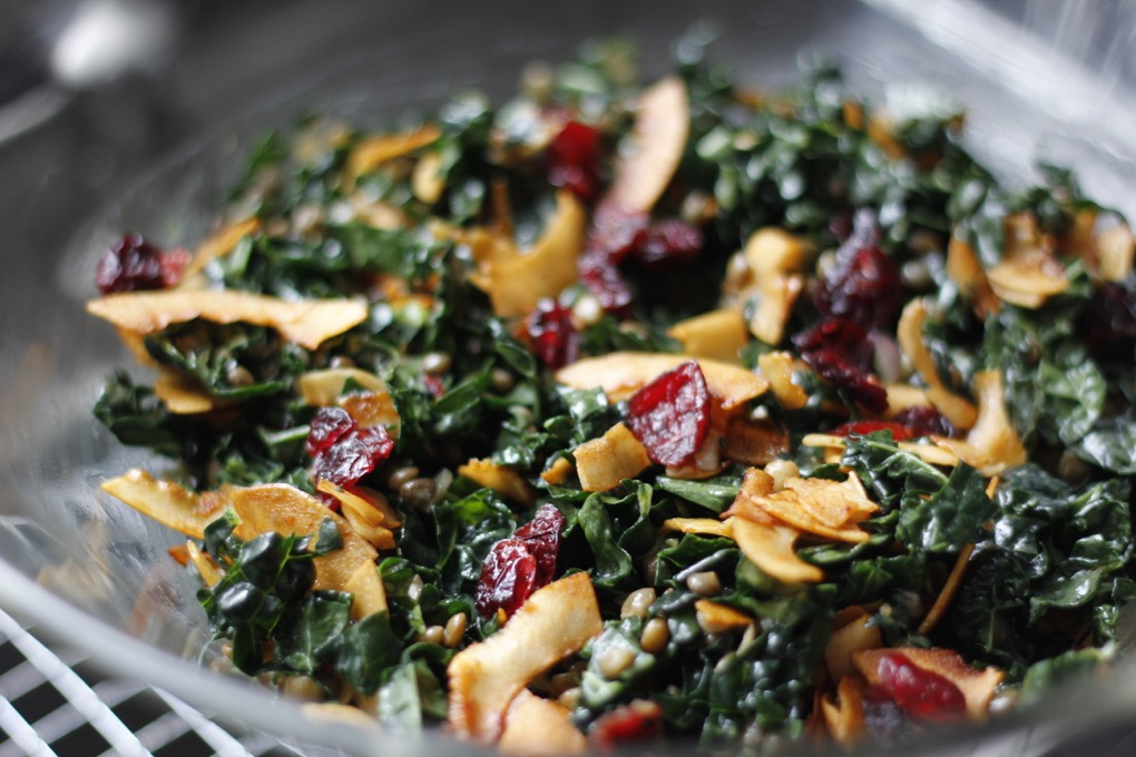 Kale & Lentil Salad With Cranberries & Coconut Bacon