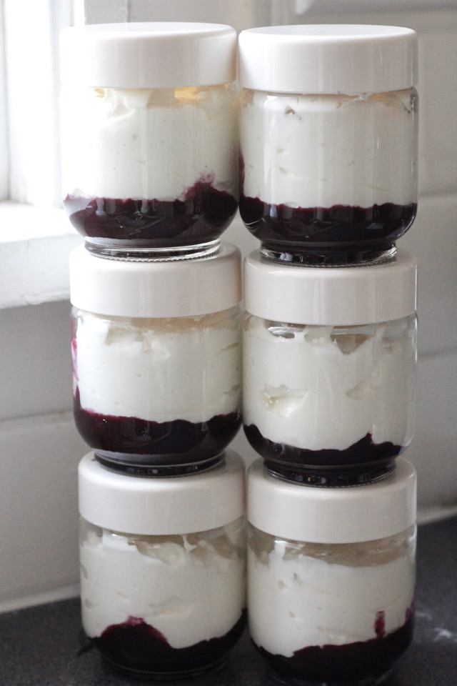 Jars of Instant Pot Yogurt with Blueberries Fruit On The Bottom